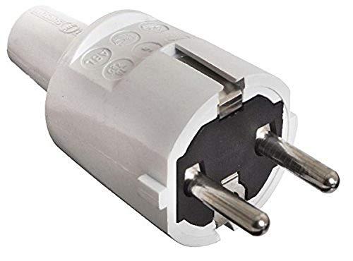 as - Schwabe 62220 PVC Stecker, grau, doppelter Schutzkontakt, 230 V