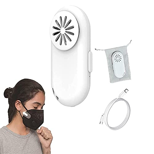 SDFNJK Breathe Cooler Wearable Air Purifier, Personal Wearable Mini Fan Cool Mask Clip-On Air Purifier, Portable Rechargeable Air Purifying Mask Fan 16x28x64mm Bianco