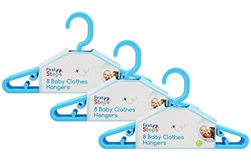 First Steps - Paquete de perchas para ropa de bebé (8, 16, 24 o 32 unidades), color rosa, blanco o azul rosa azul Talla:pack de 24