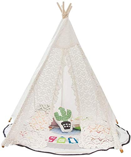 Woodtree Children's Tent Teepee Lace Tent Playhouse For Kids Photo Canopy (White) Play Tents (Color : White, Size : ONE SIZE -S),Size:ONE SIZE -S,Colour:White (Color : White, Size : ONE SIZE -S)