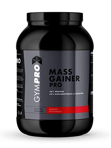 GymPro - Weight Gainer Professional (Erdbeere, 2500g), Masse Shake mit Protein, Kohlenhydrate (Maltodextrin, Dextrose) und Aminosäuren + Kreatin - Carbs und Whey Kalorienshake für Gewichtszunahme
