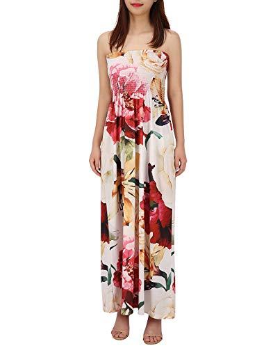 HDE Women's Strapless Maxi Dress Plus Size Tube Top Long Skirt Sundress (Cream Floral, 4X)
