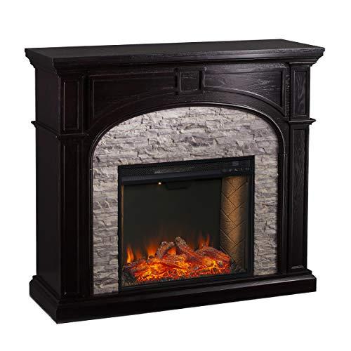 SEI Furniture Tanaya Faux Stacked Stone Alexa-Enabled Electric Fireplace, Ebony, Gray