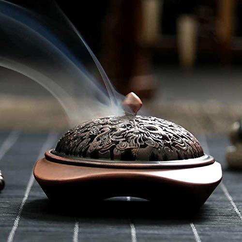 HEHELEBANG - Quemador de Incienso Tallado de aleación de Cobre Antiguo Tallado para aromaterapia, Horno de aromaterapia, decoración del hogar, Plato de Incienso de sándalo