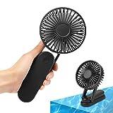 Pousutong 携帯扇風機 3段階風量調整 180°調整 モバイルバッテリー機能 8h稼働 usb充電 羽根掃除 ブラック