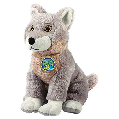 EcoBuddiez - Lobo de Deluxebase. Peluche Mediano de 20 cm elaborado con Botellas de plástico recicladas. Lindo Peluche ecológico con Forma de animalito para niños pequeños.