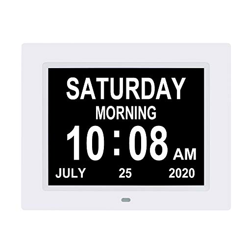 8.7 inch Day Date Time Clocks Auto-Dimming Extra Large Non-Abbreviated Digital Day Calendar Clock 8 Alarm Options Senior Elderly impaired Vision...
