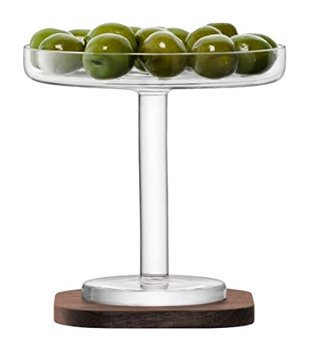 "LSA International City Bar Olive Stand & Walnut Coaster, 4.75"", Clear"