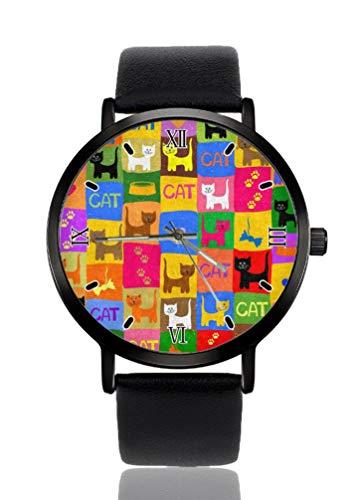 Reloj de pulsera para mujer, diseño de gato colorido con huellas de corazón, ultra delgado, extremadamente simple, analógico, pulsera para mujer, ultra delgado, movimiento de cuarzo japonés