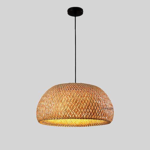 Hines Creativo de estilo japonés Zen Tatami Sala de té Lámpara de techo colgante de bambú con pantalla de vidrio blanco Restaurante de estilo chino Cocina Decoración de la granja Lámpara colgante aju