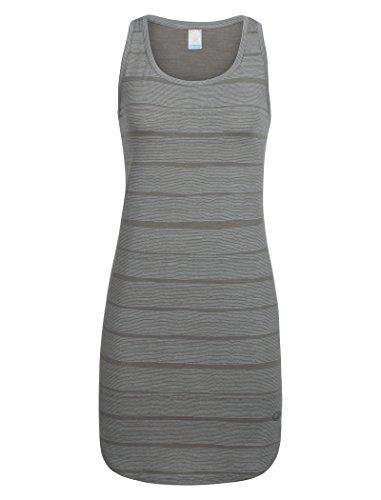 Icebreaker Merino Women's Yanni Tank Summer Travel Dress, New Zealand Merino Wool, Combed Lines/Metal/Snow, Small