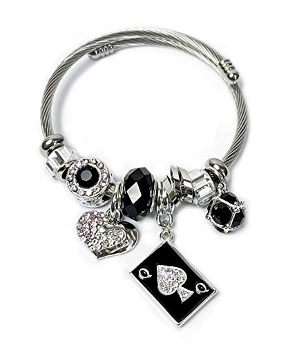 💕 HOTWIFE 💕 Stainless Steel Charm Bracelets - Hot Wife, Queen of Spades, Vixen, Threesome, Naughty, QOS, MFM, Swinger, Anklet, Necklace, Jewelry (QOS Card Charm Bangle Bracelet)