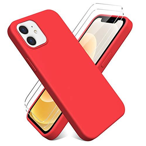 Oududianzi - Funda para iPhone 12/iPhone 12 Pro(6.1'') + [2 Pack] Protector Pantalla, Carcasa de Silicona Líquida Gel Ultra Suave Funda con tapete de Microfibra Anti-Rasguño - Rojo