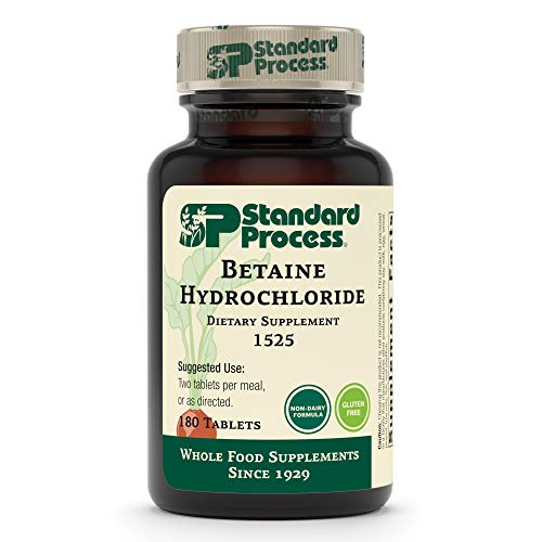Standard Process Betaine Hydrochloride - Whole Food GI and Digestive Health Supplement with Magnesium Citrate, Betaine HCl, Ammonium Chloride, Pepsin, and More - 180 Tablets