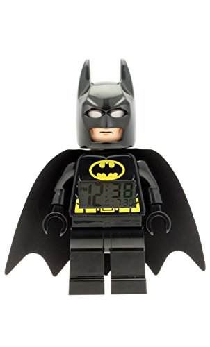 LEGO DC Comics Super Heroes Batman 9005718 Kids Minifigure Light Up Alarm Clock | Black/Yelow | Plastic | 9.5 inches Tall | LCD Display | boy Girl | Official