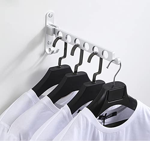 Ysislybin Hopfällbar väggklädhängare, väggklädhängare för balkong väggmontering hopfällbar rostfritt stål klädkrokar för kläder vägg klädstång garderobsstång (silver)