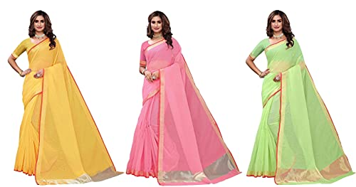 GoSriKi Women's Plain Weave Art Silk Saree with Blouse Piece (ART-COMBO-725_Multicolor_FS_Multicolour)