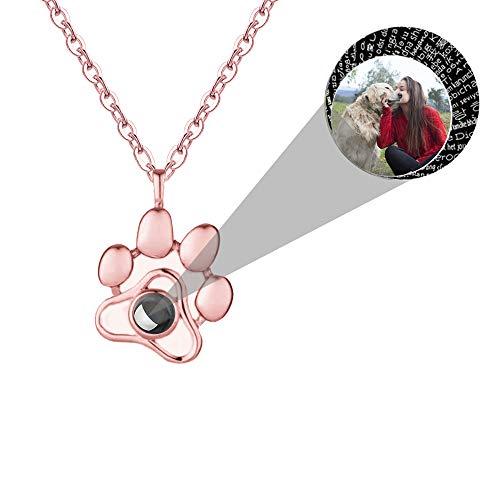 Projection Collier Photo Personnalisé Patte de Chien Collier je t'aime 100 Langues Argent Sterling 925 Pendentif Bijoux Cadeaux pour Femme Fille, 40+5 CM