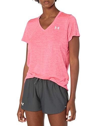 Under Armour Tech Short Sleeve V - Twist, kurzärmliges & atmungsaktives Laufshirt für Frauen, ultraleichtes T-Shirt mit loser Passform Damen, Cerise / Pink Lemonade / Metallic Silver , M
