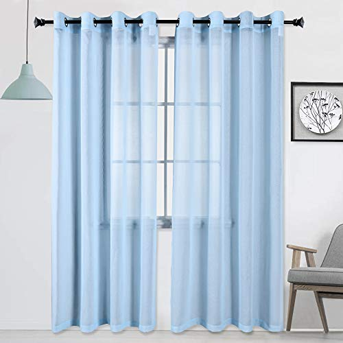 HUTO Sheer Curtains Baby Blue 84 inches Long for Kids Room Window Curtain Set Drapes Textured Voile Grommet Sheer Panels for Bedroom 2 Panels 52x84