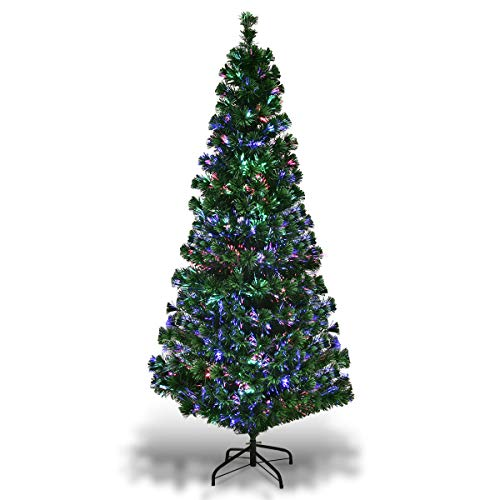 Goplus 4ft Artificial Pre-Lit Christmas Tree Fiber Optic Tree with Metal Stand, Xmas Tree for Holiday Decor