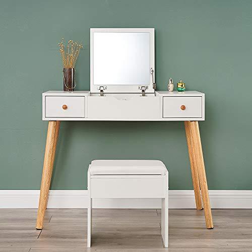 Tocador blanco con espejo abatible, moderno juego de mesa y taburete, mesa de maquillaje para niñas, mujeres, dormitorio