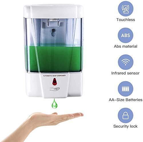 Youool dispensador jabon automatico Pared 700 ml con Sensor IR, dispensador de jabón automático sin Contacto para Cocina, dispensador Gel hidroalcoholico (Transparent)