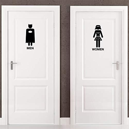 stickers muraux disney noir et blanc Porte de toilette super-héros pour toilette Wc sticker mural