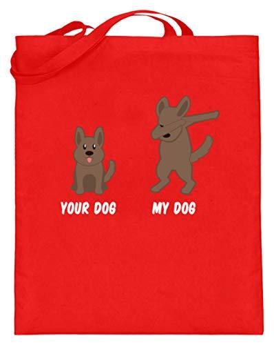 Jouw hond - Mijn hond/Your Dog - My Dog - Coole hond Dabbing Design dierenliefde motief - Jute zak (met lange hengsels)