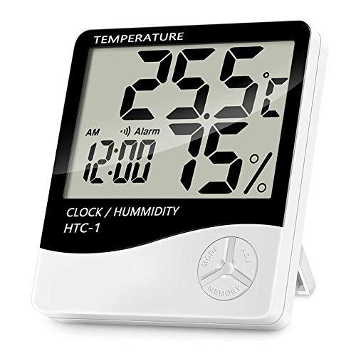 shentaotao Tragbares Thermometer Hygrometer Temperatur-Digital-LCD-Anzeige für Innenzimmer Arbeitszimmer Weiß