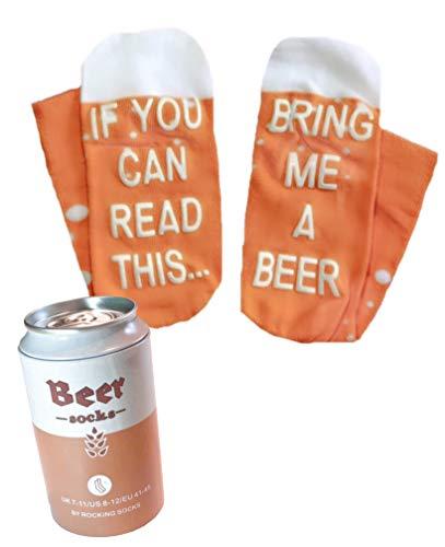Rocking Socks Lustige Bier Socken in Bier Dose als Geschenkverpackung! Mit der Aufschrift If you can read this bring me some beer - originelles Geschenk für Männer