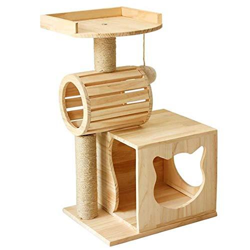 Katze Kletterturm Kratzbaum Massivholz Katze Klettergerüst Roller aus Holz Katzentoilette Kratzbaum Cat Springen Plattform Sisal Katze Kratz Haustier-Katze-Spielzeug für Medium/Large Cats