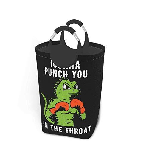 wupinpai wasserdichte schmutzige Kleiderpackung, 50 Liter Lagerkapazität Iguana Punch You In The Throat mit Griffen Faltbarer, übergroßer Wäschekorbkorb