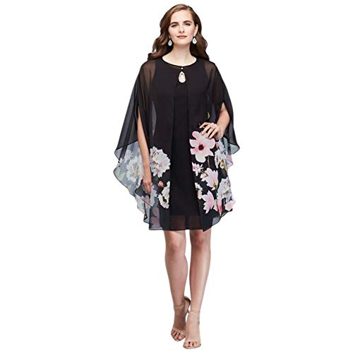 Chiffon Floral Capelet and Keyhole Mother of Bride/Groom Dress Set Style 9171413, Black, 14