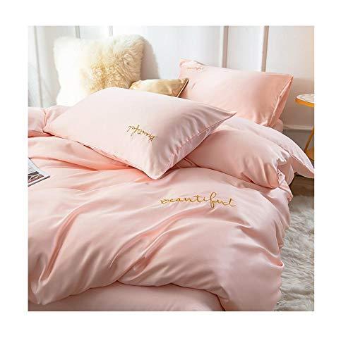 Qianqingkun Ice Silk säng fyra delar sommar continental – siden tvättad siden kan sovlakan påslakan täcka@A3_200 x 230 cm