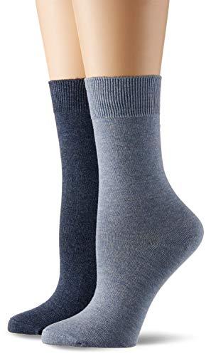 Camano Damen 9106 Socken, Blau (Stone Mel (99) + Jeansblau 0099), 35/38 (9er Pack)