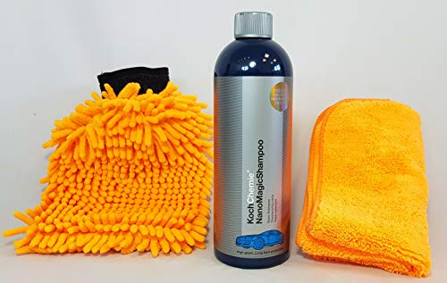 Koch Chemie Nano Magic Shampoo Autoshampoo 750ml + Clean2 Waschhandschuh & Clean2 Mikrofaser ORANGE 40 X 40 cm 380gsm