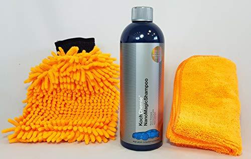 Koch Chemie Nano Magic Shampoo Autoshampoo 750ml + Clean2 Waschhandschuh & Clean2 Mikrofaser ORANGE 40 X 40 cm 380gsm