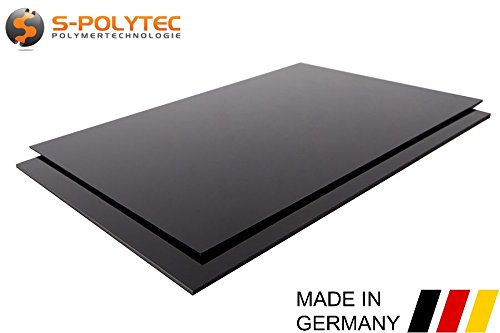 ABS Platte Kunststoff Platten SCHWARZ ODER WEIß, Verschiedene Formate in Stärken 1-10mm TOP Qualität (100 x 49cm, 1mm, Schwarz)