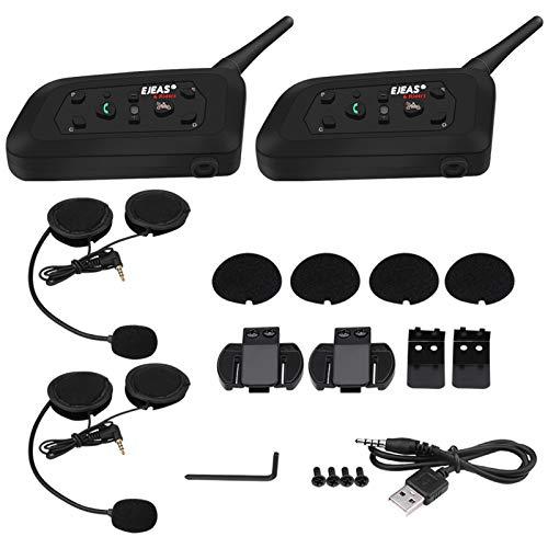 Casco de intercomunicador de Motocicleta Bluetooth, EJEAS V6 Pro 1200M Casco de Motocicleta Intercomunicador Bluetooth Interphone Auriculares 6 usuarios(Bolsas Dobles)
