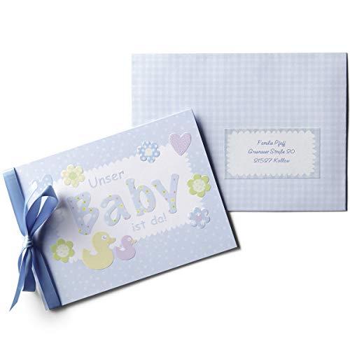 Babykarten Geburtskarten Set 'Bluestar' - 15 hellblaue Grußkarten zur Geburt, passende Umschläge, Satinbänder und Sticker - zum einfachen Bedrucken zu Hause