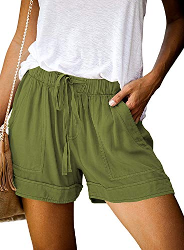 OURS Women Casual Shorts Plain Solid Color Elastic Waist Drawstring Pockets Summer Beach Short Athletic Pants(Army Green,S)