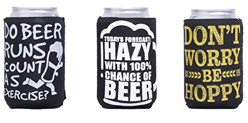 Funny Quotes Neoprene Insulated Beer Can Sleeve Covers - 3 Pack