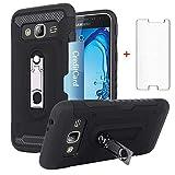 Samsung Galaxy J3 V/J 3 2016/J36V/Sky/Express Prime/Amp Prime Wallet Phone Case with Tempered Glass Screen Protector Card Holder Kickstand Protective Cover for Glaxay Sol J3V J36 6 J320V J320A Girls