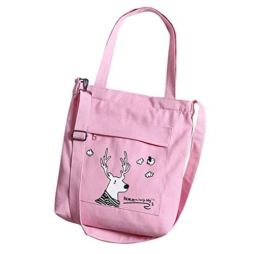 SODIAL Mode Damen Leinwand Umh?Ngetasche L?Ssige Einkaufstasche Weiche Umh?Ngetasche Schultasche Anime Handtasche Einkaufstasche Rosa