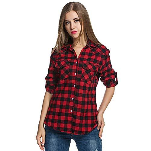 VJGOAL Femmes Tops La Chemise à Carreaux Tartan éCossais des Chemises De Flanelle Retrousser Les Manches des Tops Bouton Chemisier (FR-36/CN-S, Rouge)