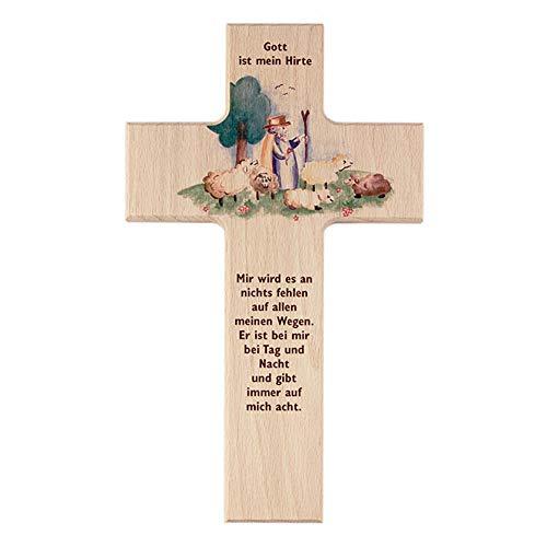 Kinder - Holzkreuz: 'Guter Hirte'15cm