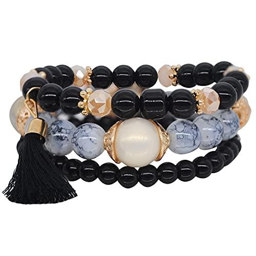 Pulseras para mujeres, pulsera con cuentas, material de aleación Pulsera de múltiples capas de cuerda de aleación, modelos femeninos de bohemia dulce belleza brazalete salvaje