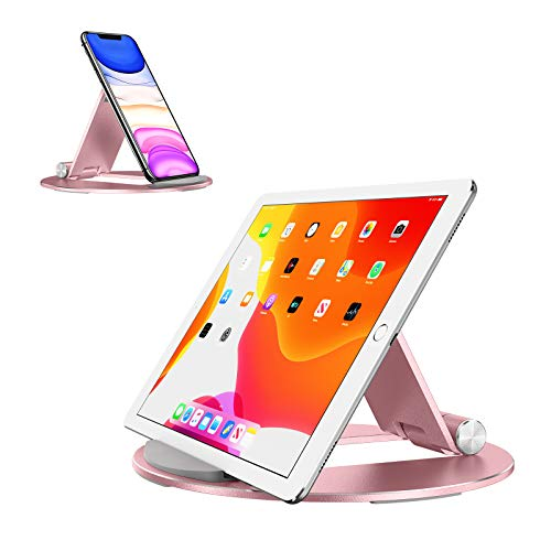 Tablet Stand,OMOTON Travel Pad Stand, Adjustable + Portable Tablet Holder for Phone/iPad Air 4/Mini5/10.2/9.7/iPad Pro 11/12.9, Samsung Tab/Huawei Fire, etc(4.0-10.5in), Other Tablets, Rose Gold