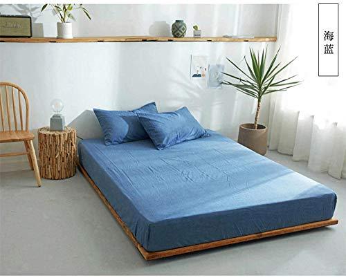 Amswsi Lenzuolo Lavato Lenzuola di Cotone Semplice Plaid copriletto Tinta Unita-Blu Mare_200 * 230 cm Lenzuola